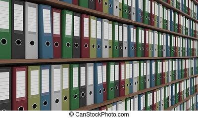 Shelves full of office folders. Dolly shot, no defocus. 4K...