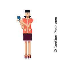 illustration isolated of European woman with dark hair, earrings, blouse, touch screen smartphone by hand in flat style