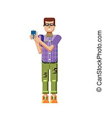 illustration isolated of European man in purple checkered...