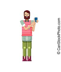 illustration isolated of European hipster with dark brown...