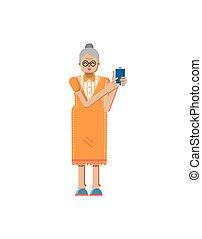 illustration isolated of European retiree, elderly woman,...