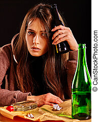 Girl in depression drink alcohol. Drinking habits. - Girl in...