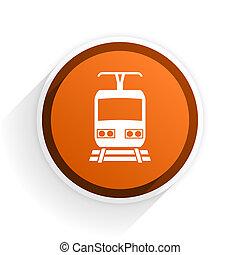 train flat icon with shadow on white background, orange...