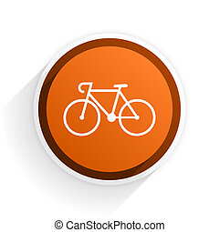 bicycle flat icon with shadow on white background, orange...