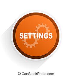 settings flat icon with shadow on white background, orange...