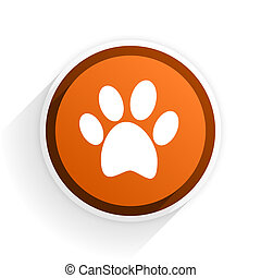 foot flat icon with shadow on white background, orange...