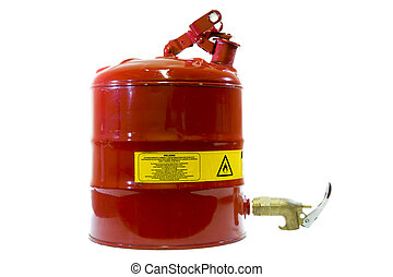 Safety canister - Flammable fluids container isolated on...