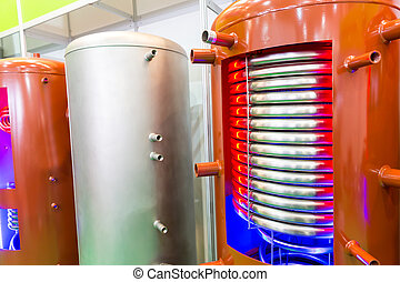 Prepared boiler for heating water with heat-exchange unit...