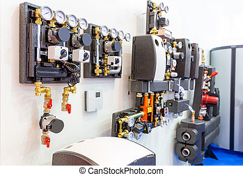 Modular block of heating system - Side view of modular block...