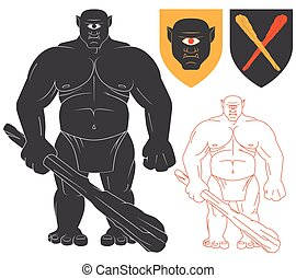 Cyclops with a club Illustration For Heraldry Or Tattoo...