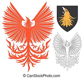 Red Phoenix Bird - Red Soaring Phoenix Bird Illustration For...