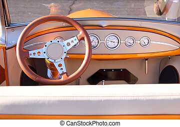 Classic car interiors - Instrument panel and steering wheel...