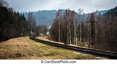 beautiful landscape with railroad in mountains