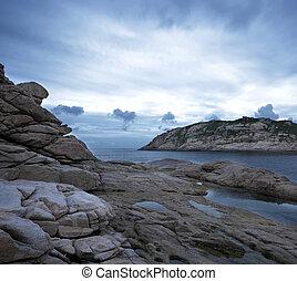 rocas, saturación, cielo, bajo, Tormenta