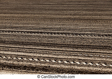 plowed land close-up - an agricultural field which has been...