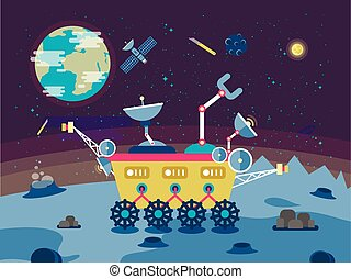 illustration of a lunar rover on the surface the moon in flat style
