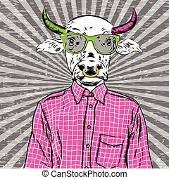 Hand Drawn Fashion Illustration of dressed up bull, in colors. Vector