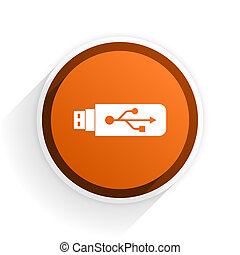 usb flat icon with shadow on white background, orange modern...
