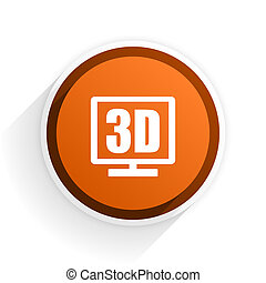 3d display flat icon with shadow on white background, orange...