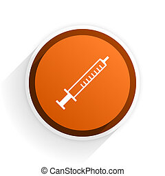 medicine flat icon with shadow on white background, orange...