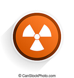 radiation flat icon with shadow on white background, orange...