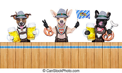 bavarian beer dogs row - bavarian german row or group of...