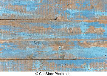 antigas, resistido, azul, madeira, prateleiras