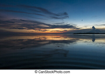Awesome sunset and still water on Gili Air Island, Indonesia...