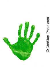 Go Green - Hand imnprint of a young child on a white back...