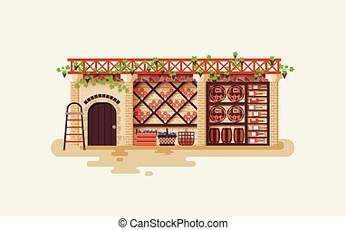 illustration Interior of wine cellar for storing and aging...