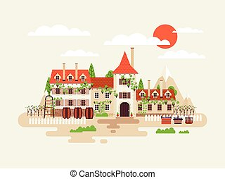 illustration of architecture winery facade with vineyards on the background  mountains  barrels  wine in flat style