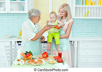 Grandmother and the woman feeding the baby.