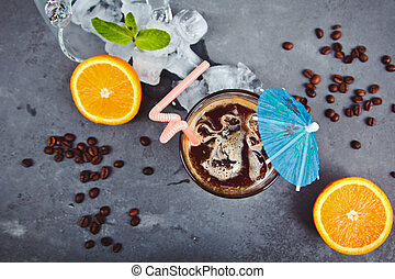 Fresh ice coffee with orange, with mint and ice Alcoholic,...