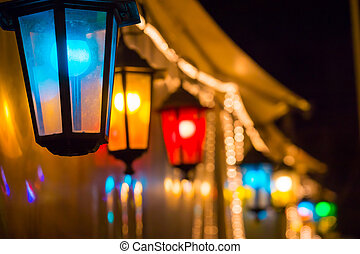Colorful street lights Christmas decorations