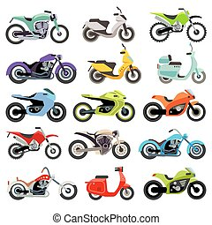 Classic motorcycle motorbike flat vector icons. Set of speed...