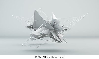 Futuristic white 3D shape in studio. Loop - Futuristic white...