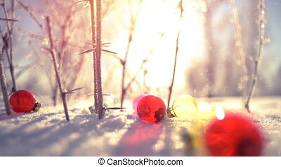 Christmas balls and snowfall close-up slowmotion - Christmas...