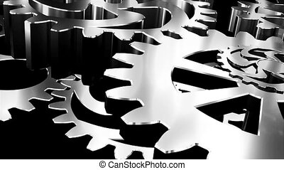 Gears and cogs macro. 3D Rendered