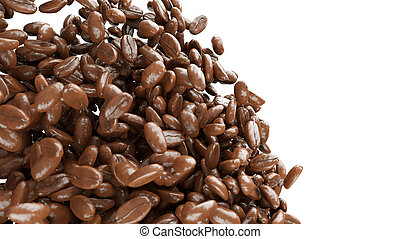 roasted coffee beans mixing isolated