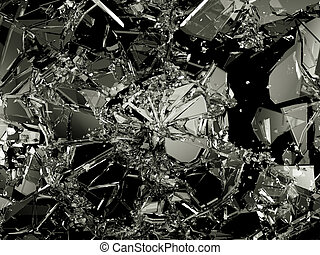 Shattered and damaged pieces of glass isolated on black...
