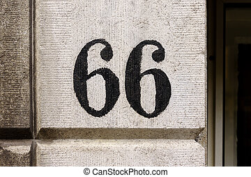 Number 66 - House number sixty six 66