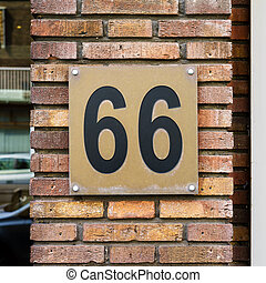 Number 66 - House number sixty six (66)