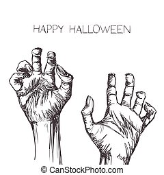 Vector Scary Zombie Hands - Vector Illustration of Hand...