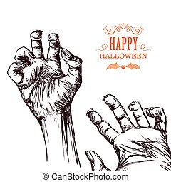 Vector Scary Zombie Hands