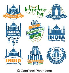 India Independence Day emblems set
