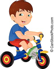 funny little child on tricycle - vector illustration of...