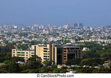 Urban Landscape - A city in Asia, India, shows how densly it...