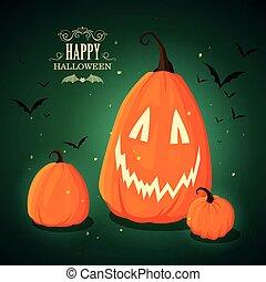 Vector Halloween Pumpkins - Vector Illustration of Halloween...