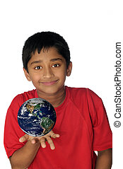 World - An handsome Indian showing world is in your hands