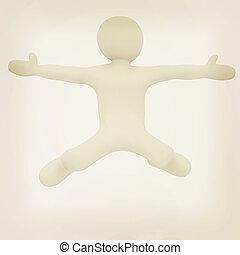 falling 3d man on white background 3D illustration Vintage...